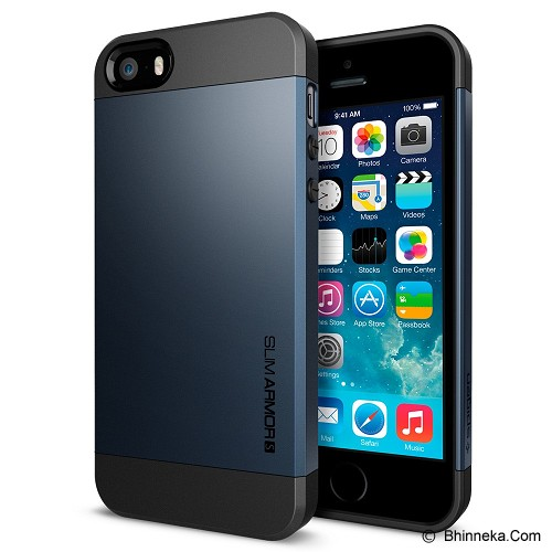 SPIGEN Apple iPhone 5 Slim Armor S [SGP10365-S] - Metal Slate (Merchant) - Casing Handphone / Case